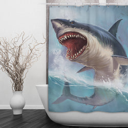 Shark Bite Shower Curtains and Bath Mats