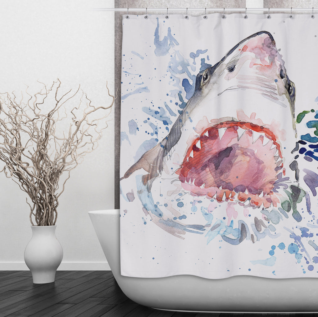Watercolor Shark Shower Curtains and Optional Bath Mats