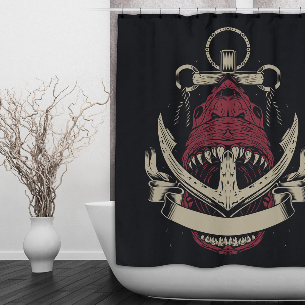 Anchor Shark Shower Curtains and Optional Bath Mats