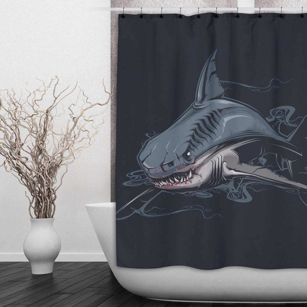 Just Fed Shark Shower Curtains and Optional Bath Mats