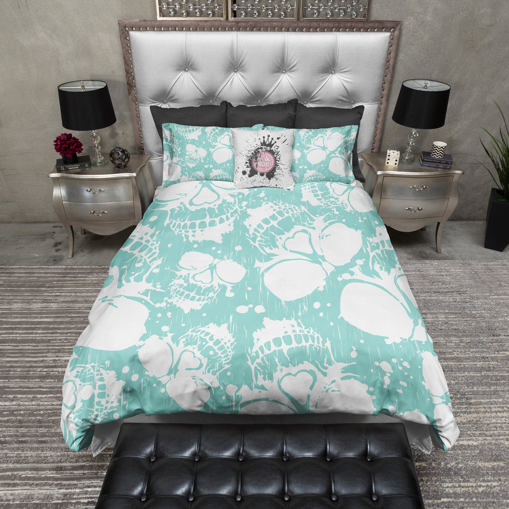 Robin Egg Blue Splatter Skull Duvet Bedding Sets