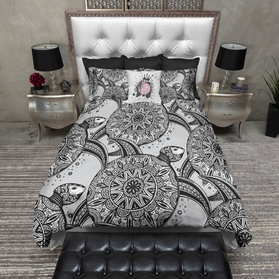 Black Stripe Watercolor Flower Anchor Bedding Ink And Rags