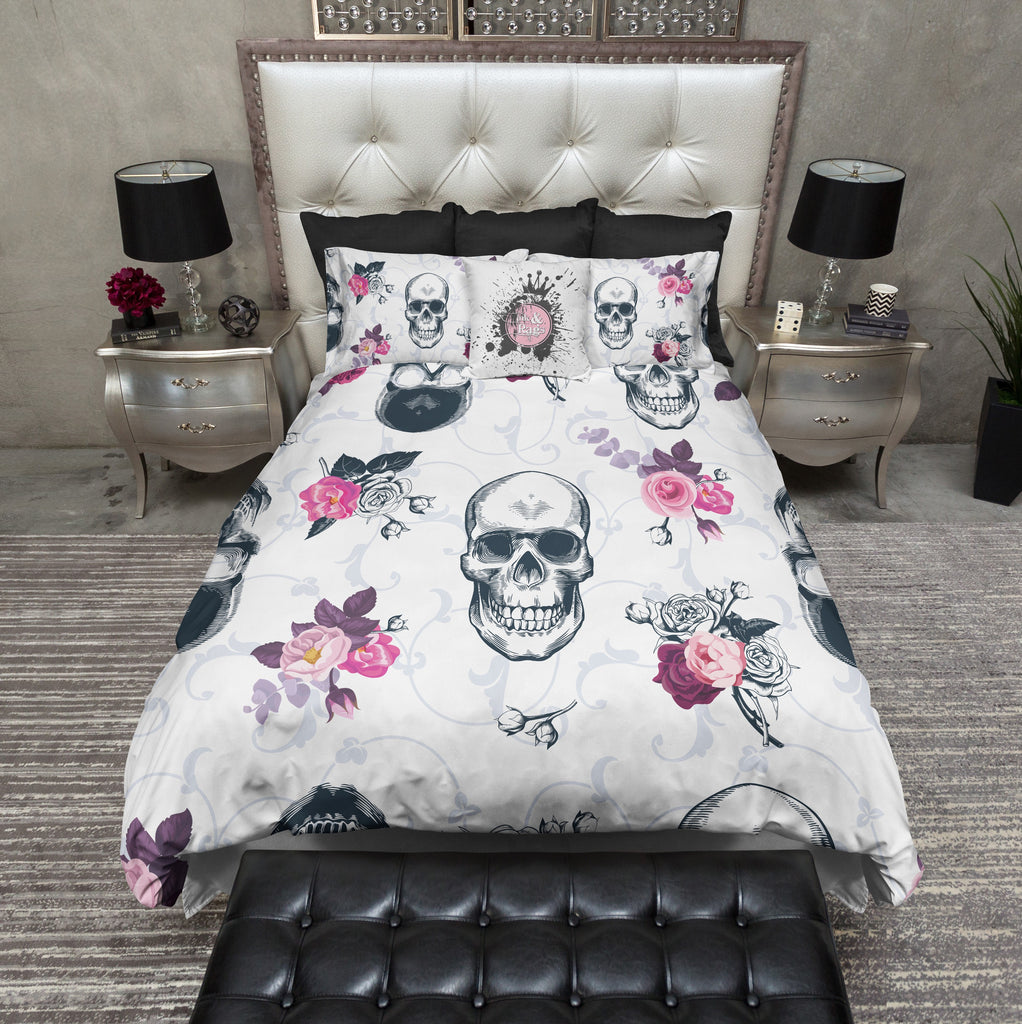 Slate Blue Spring Rose Skull Bedding