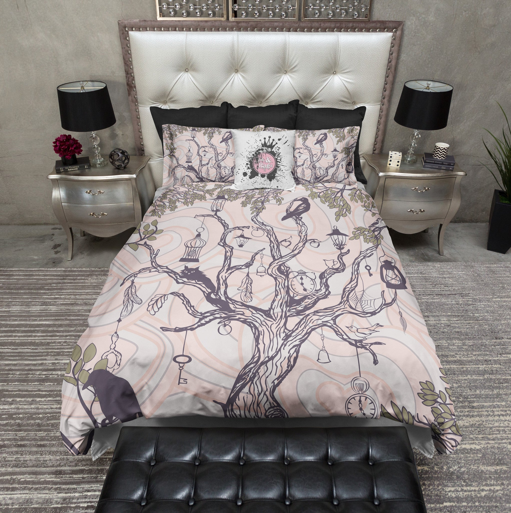 pretty and creepy crows clocks cats and cages duvet bedding  -  pretty and creepy crows clocks cats and cages duvet bedding sets