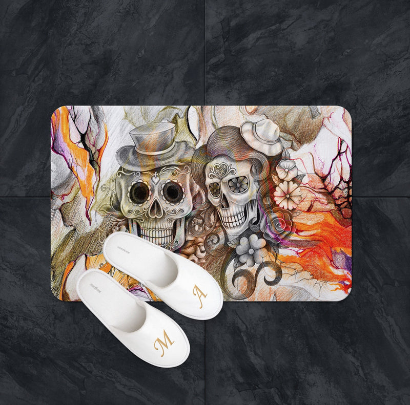 Abstract Orange Pencil Sketch Flower and Sugar Skull Shower Curtains and Bath Mats