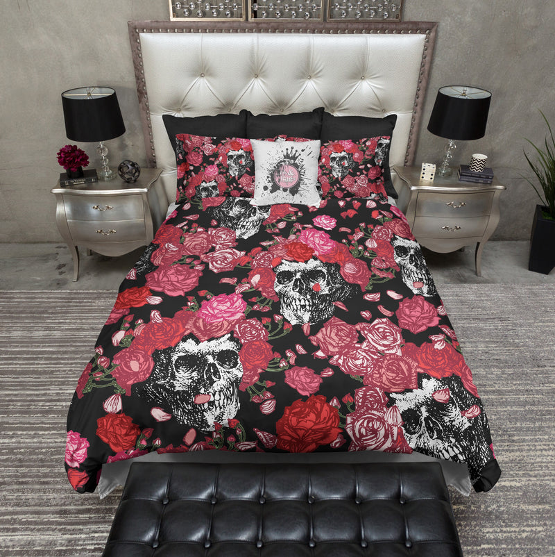 Pink and Red Rose Skull Bedding