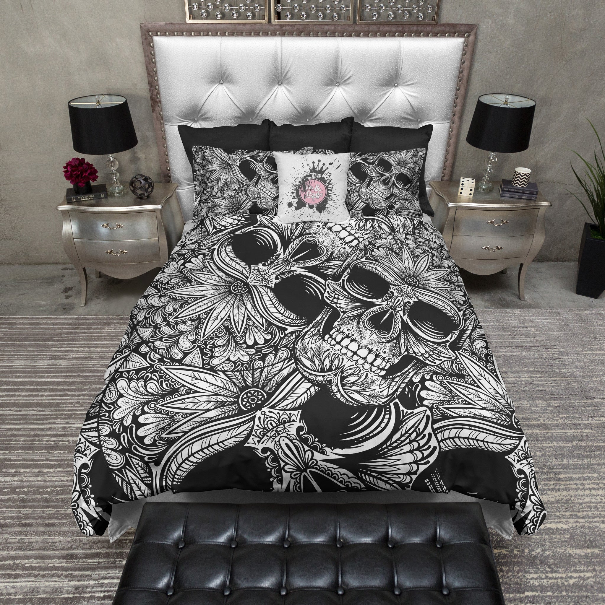 Tribal Black and White Sugar Skull Bedding - Ink and Rags