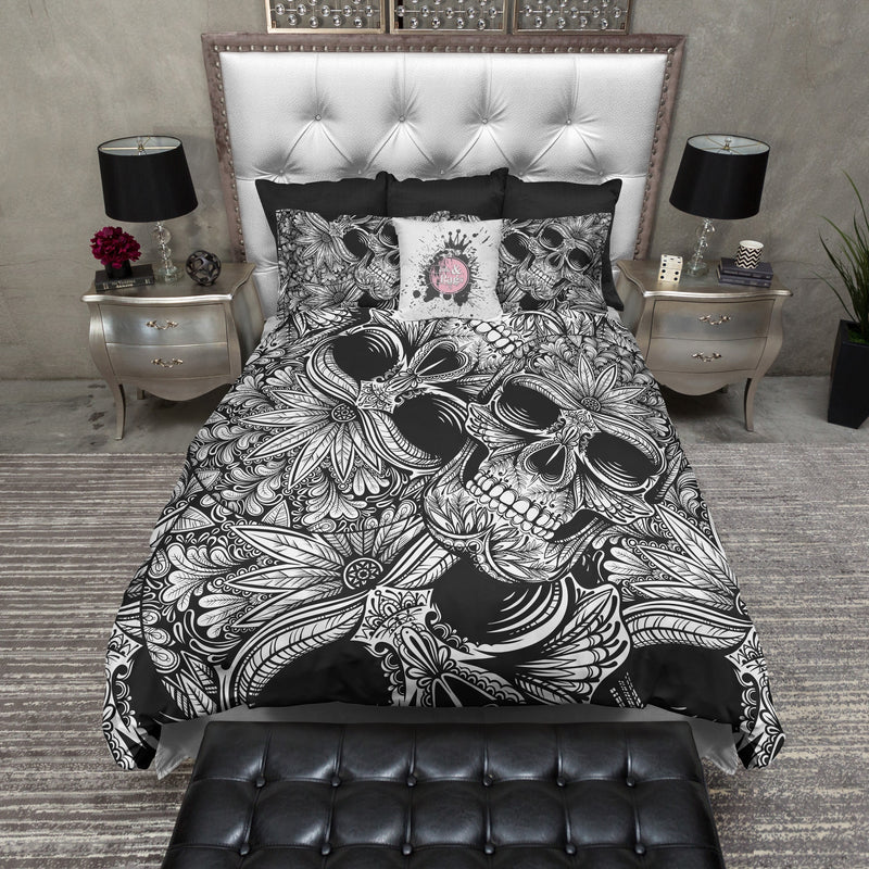 Tribal Black and White Sugar Skull Bedding