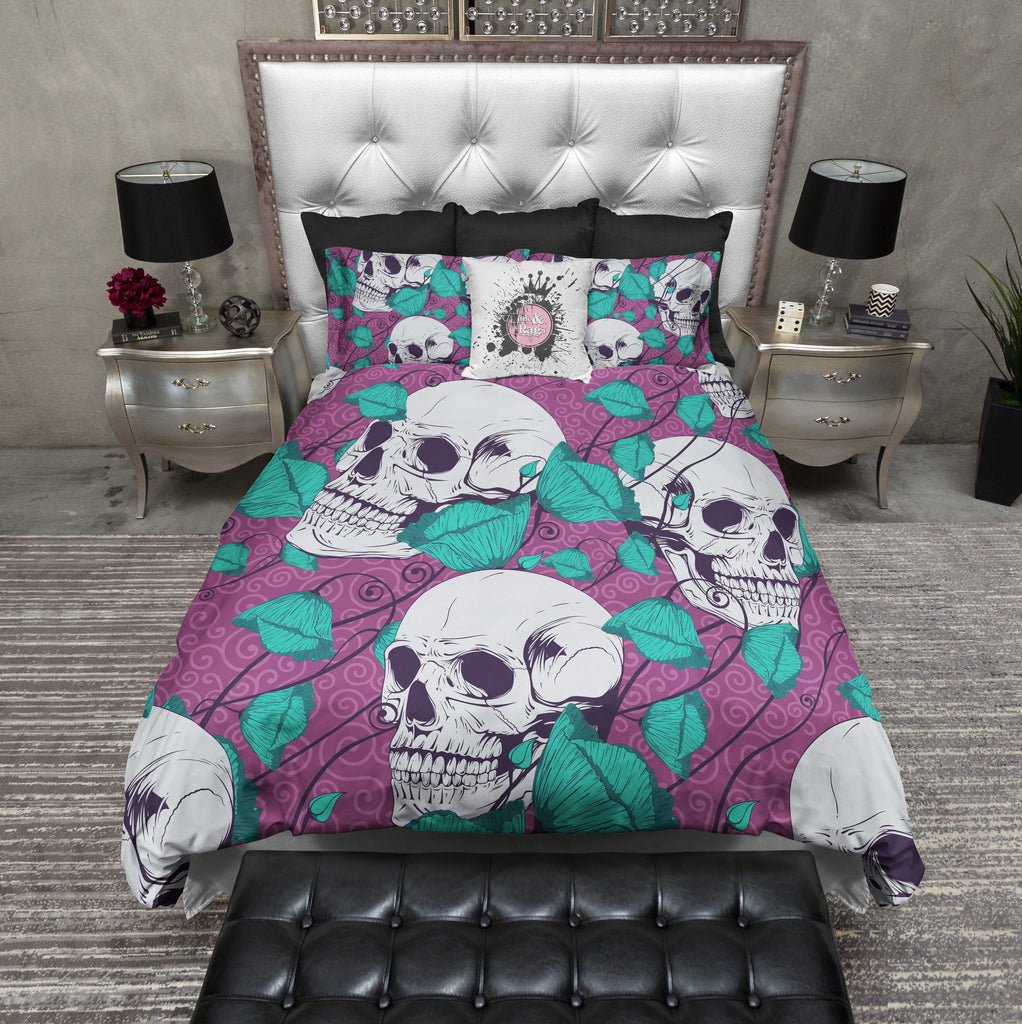 Teal Tulip and Purple Skull Bedding Collection