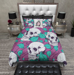 Teal Tulip and Purple Skull Bedding