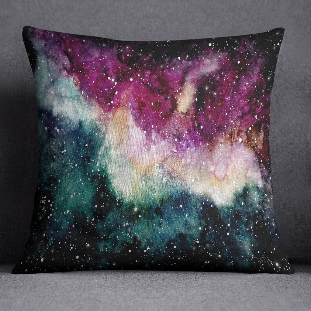 Watercolor Galaxy Throw Pillow