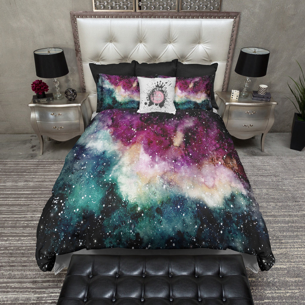 Maroon and Green Watercolor Galaxy Bedding