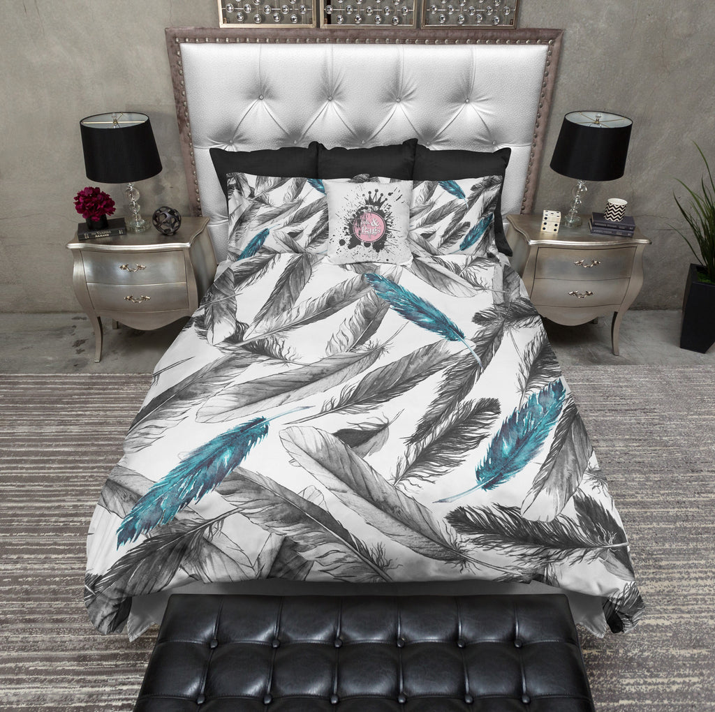 Boho Black and Teal Feather Bedding Collection