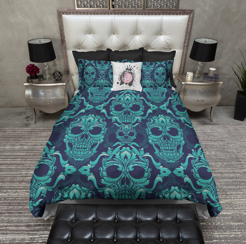 Blue and Teal Damask Skull Bedding