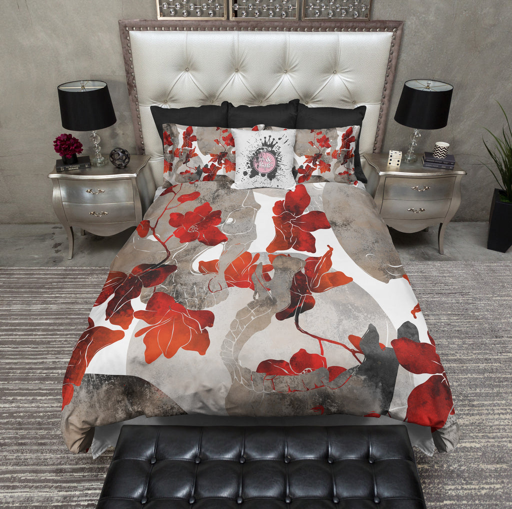 Red Flower Jaw Bone Skull Duvet Bedding Sets