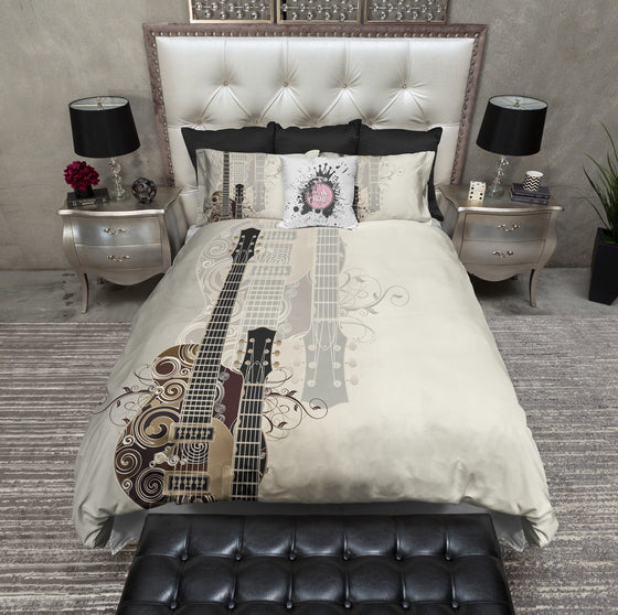 Guitar Rock Bedding CREAM