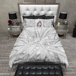Black and White Cannabis Marijuana Bedding