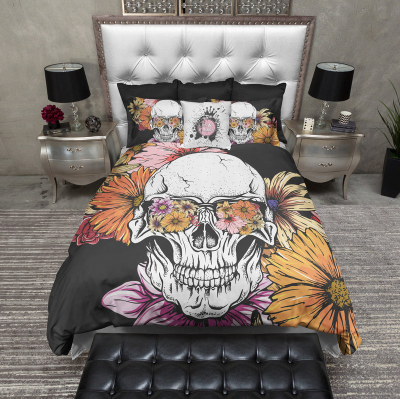 Daisies and Sunglasses Black Floral Skull Bedding