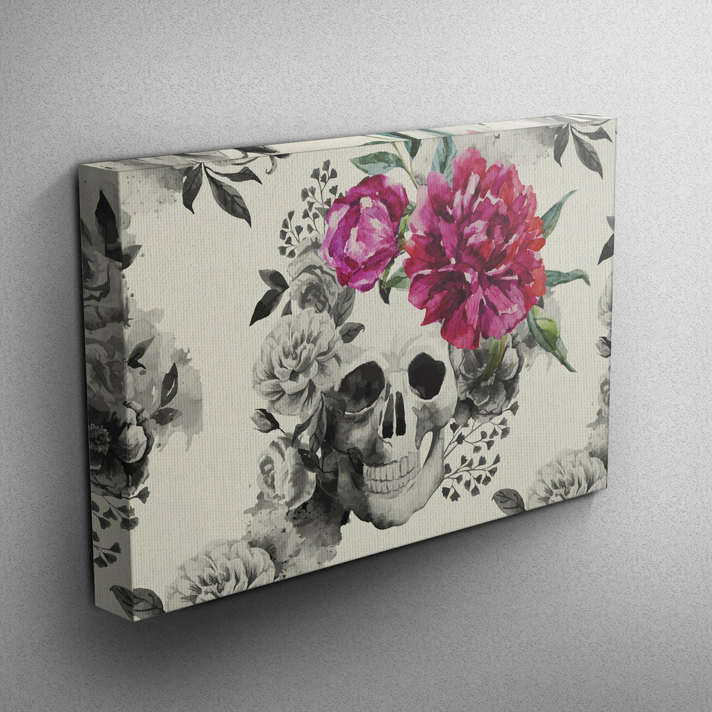 Pink Watercolor Flower and Skull Gallery Wrapped Canvas (CREAM)
