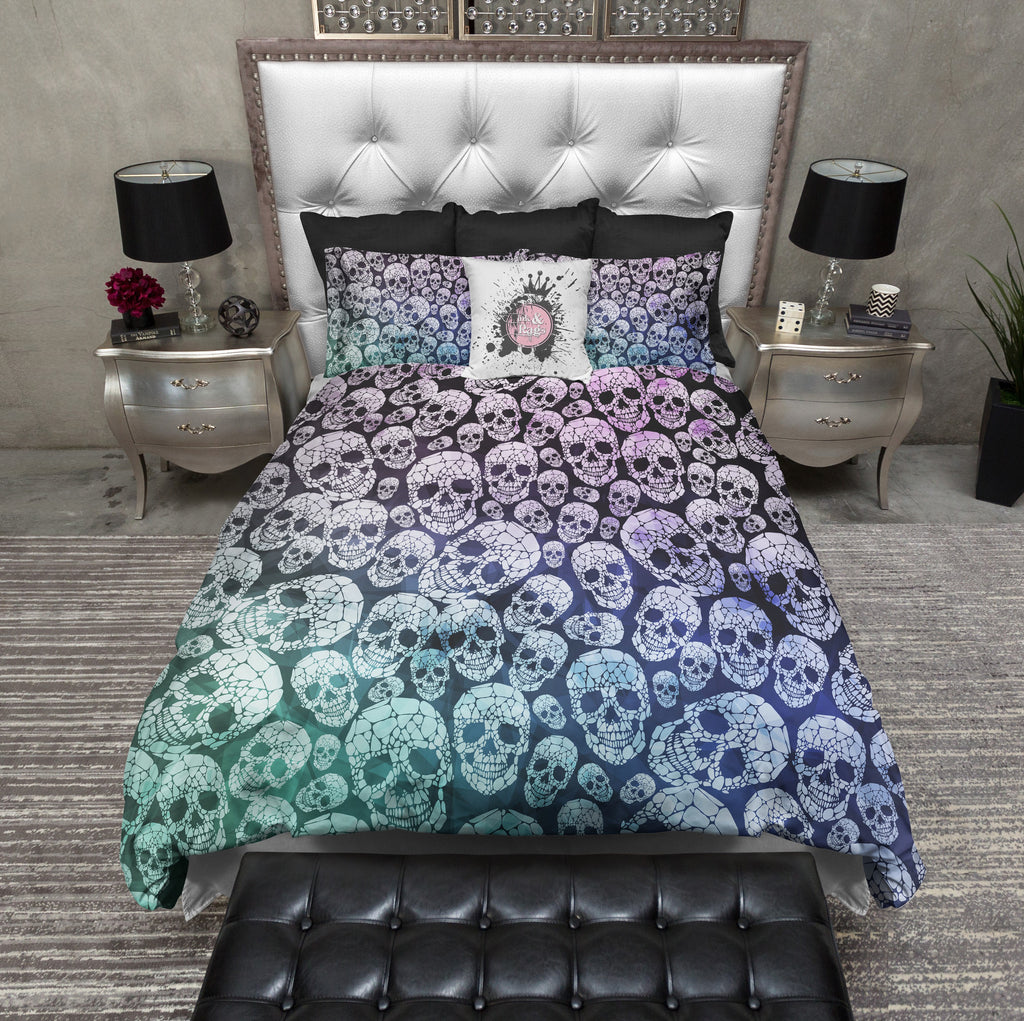 Blue Green Modern Skull Bedding