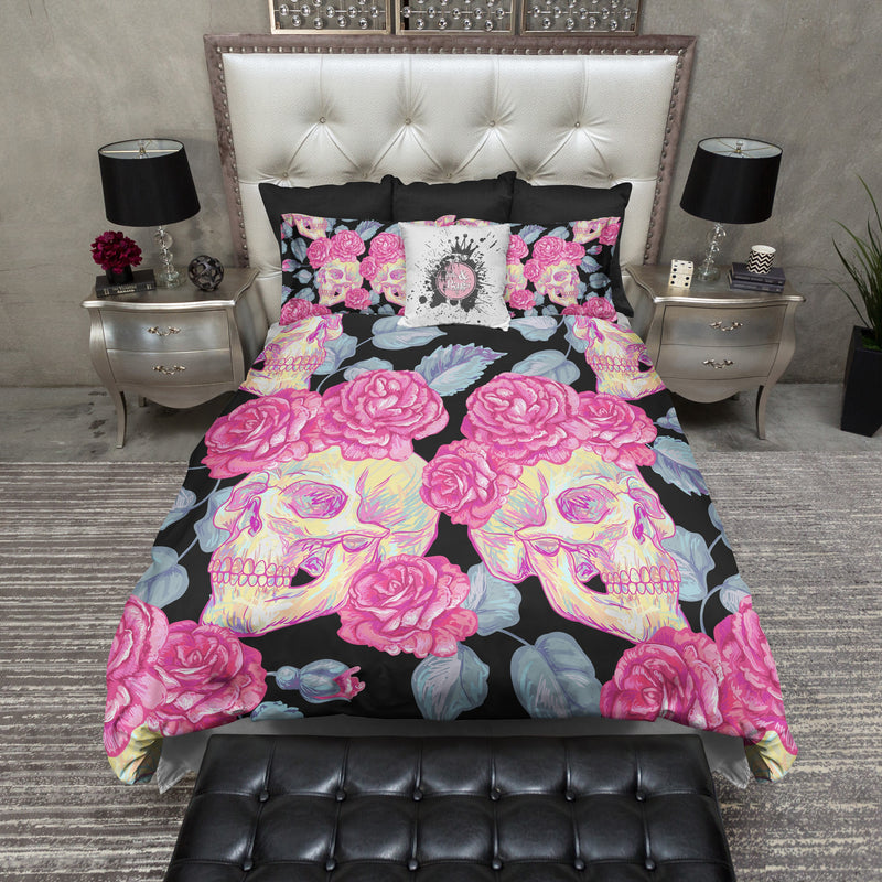 Bff Pink Rose Skull Bedding