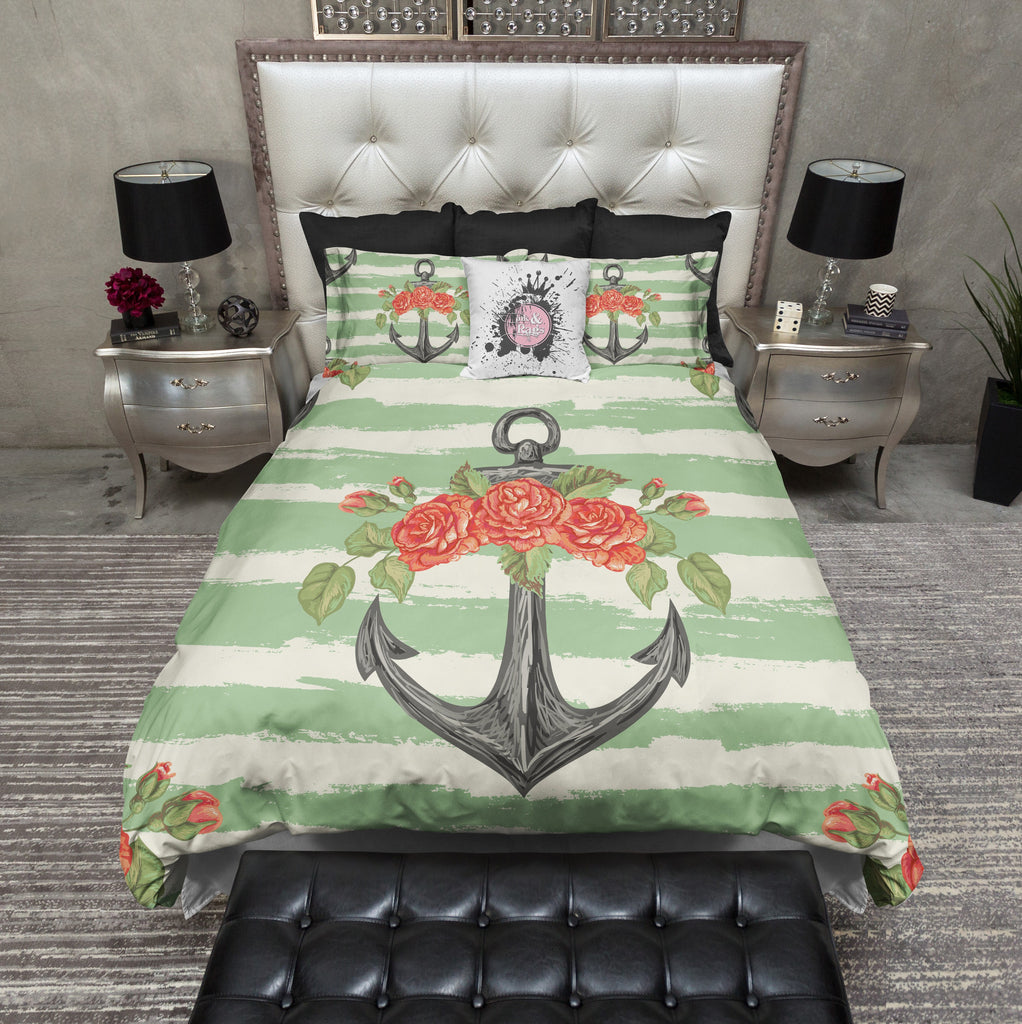 Seafoam Green Anchor and Orange Rose Bedding CREAM