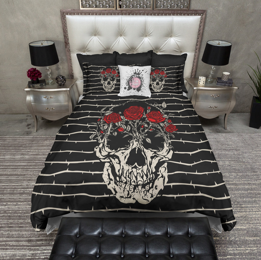 Thorn and Red Rose Skull Duvet Bedding Sets