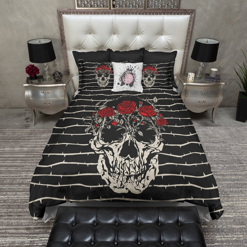 Thorn and Red Rose Skull Bedding