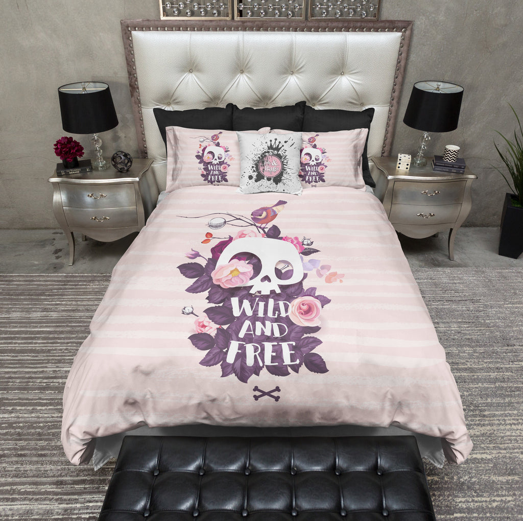 Wild and Free Pink Stripe Skull Duvet Bedding Sets