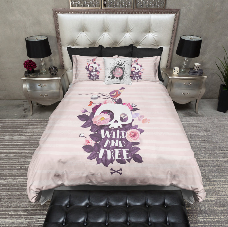Wild and Free Pink Stripe Skull Bedding