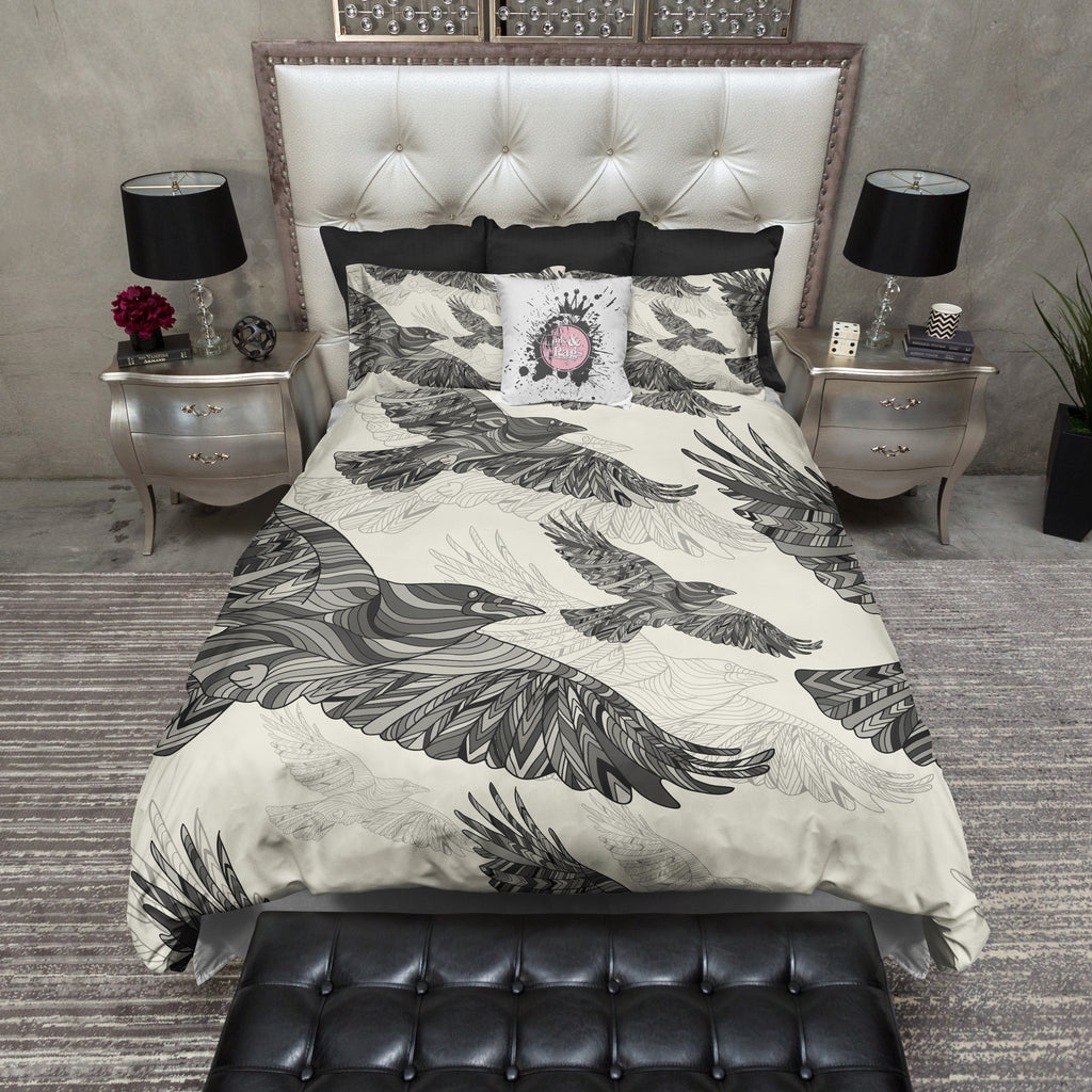 Majestic Abstract Crow Bedding CREAM