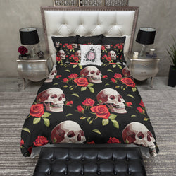 Romantic Red Rose Skull Bedding