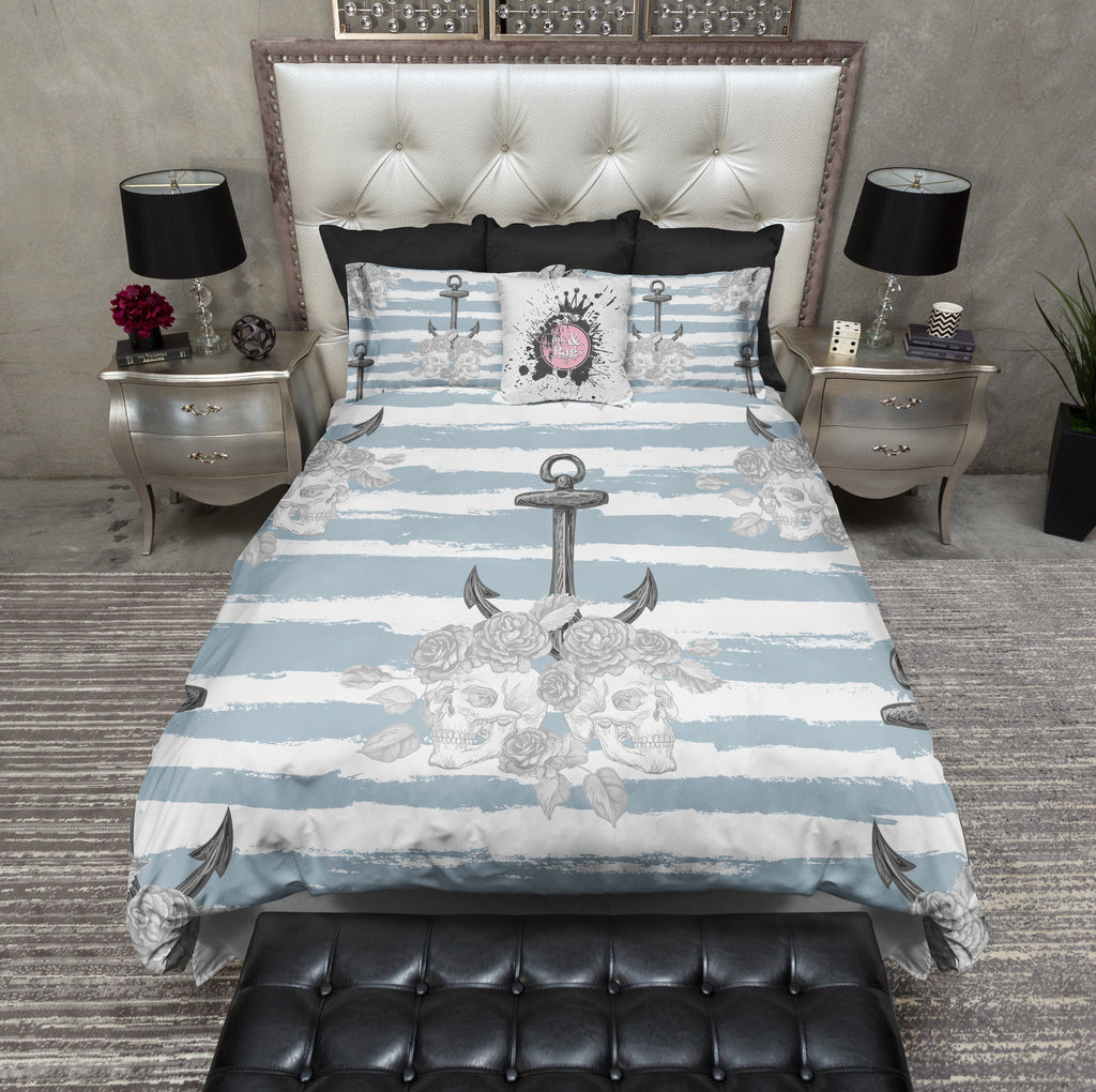 Tidewater Blue Anchor and Skull Bedding Collection