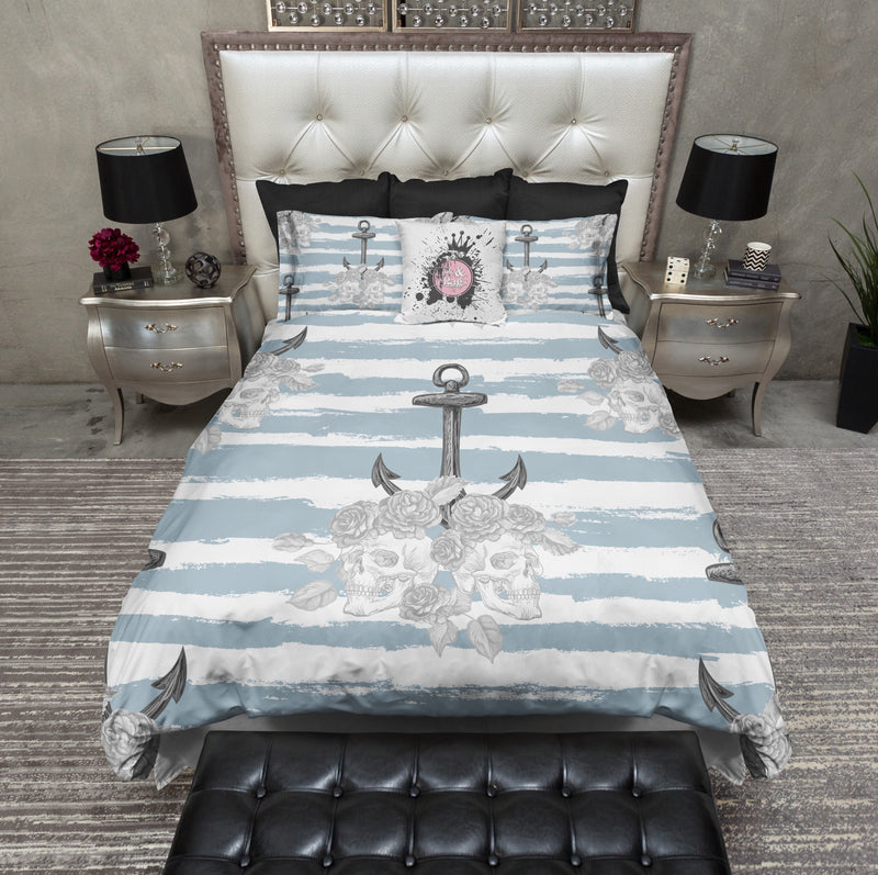 Tidewater Blue Anchor and Skull Bedding