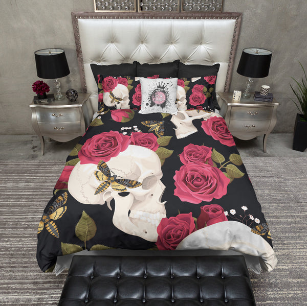 Red Rose And Death Head Moth Skull Bedding Ink And Rags