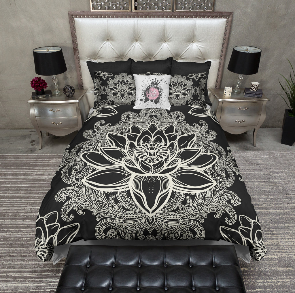 Boho Lotus Flower Black Bedding CREAM