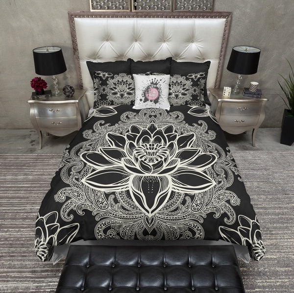 Boho Lotus Flower Black Bedding Cream Ink And Rags