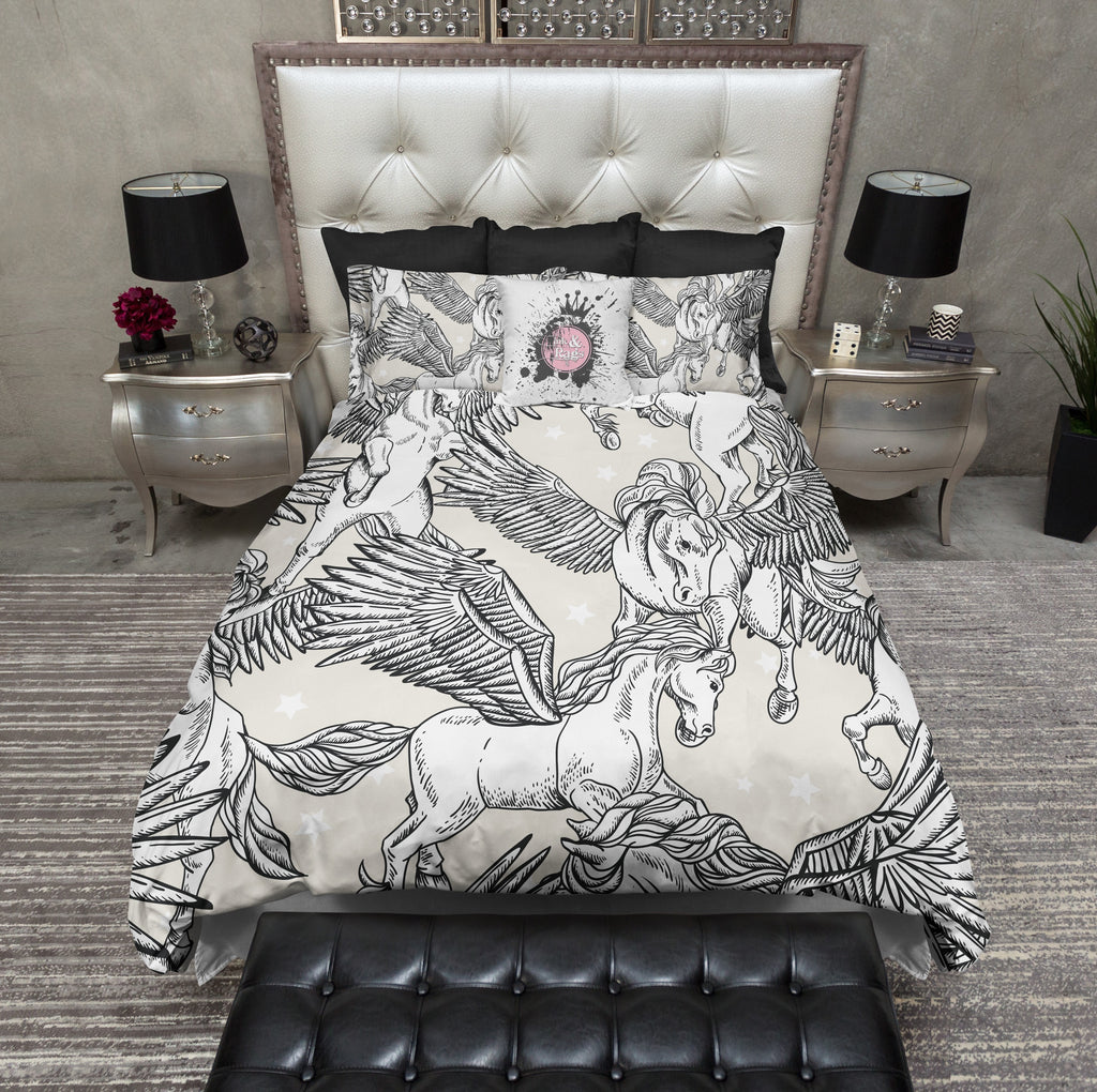 White Pegasus Star Bedding Ink And Rags