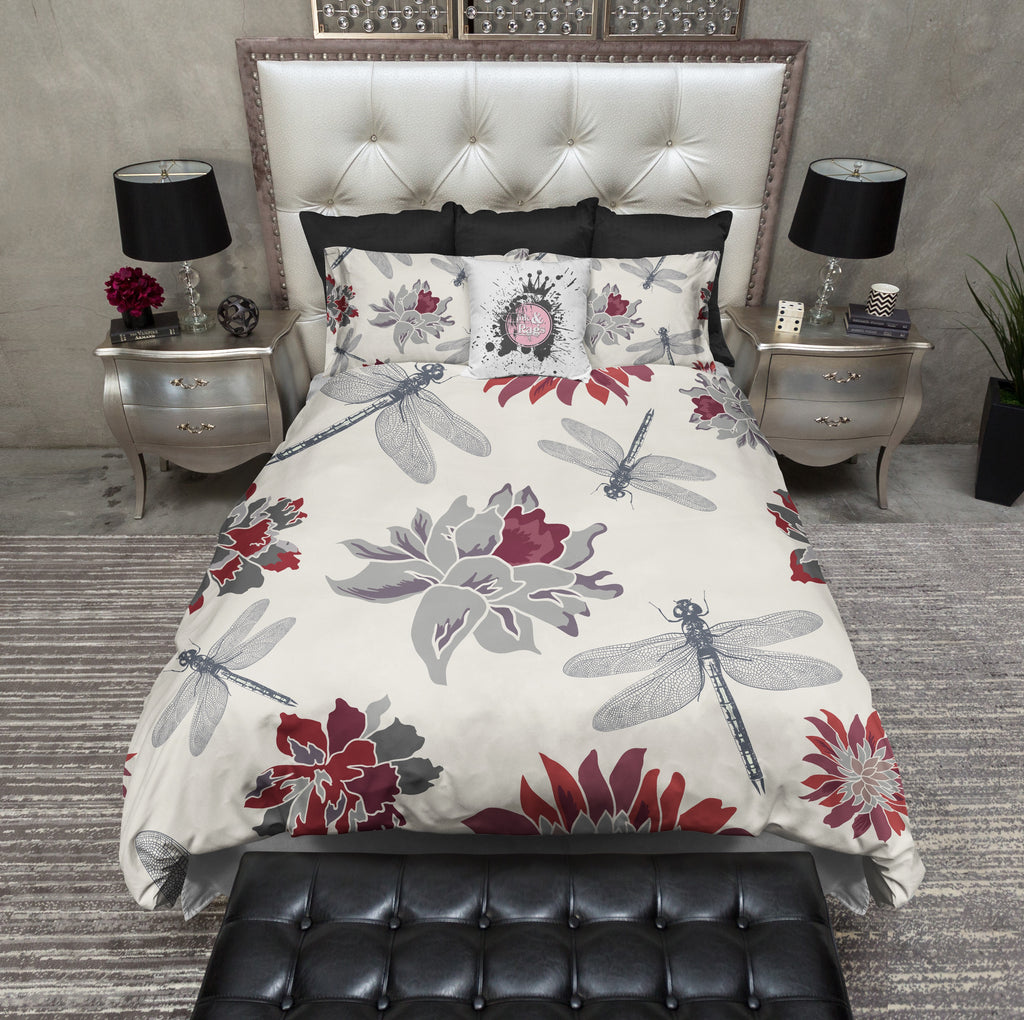 Dragonfly and Red Flower Duvet Bedding Sets