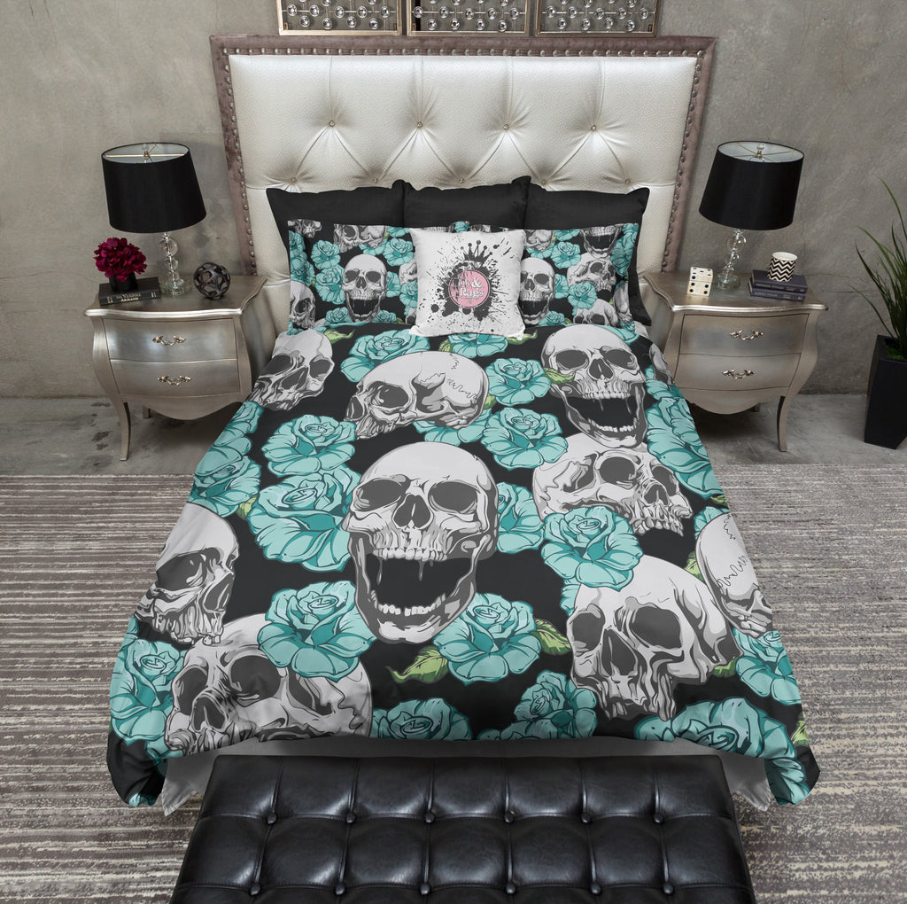 Teal and Turquoise Skull Duvet Bedding Sets