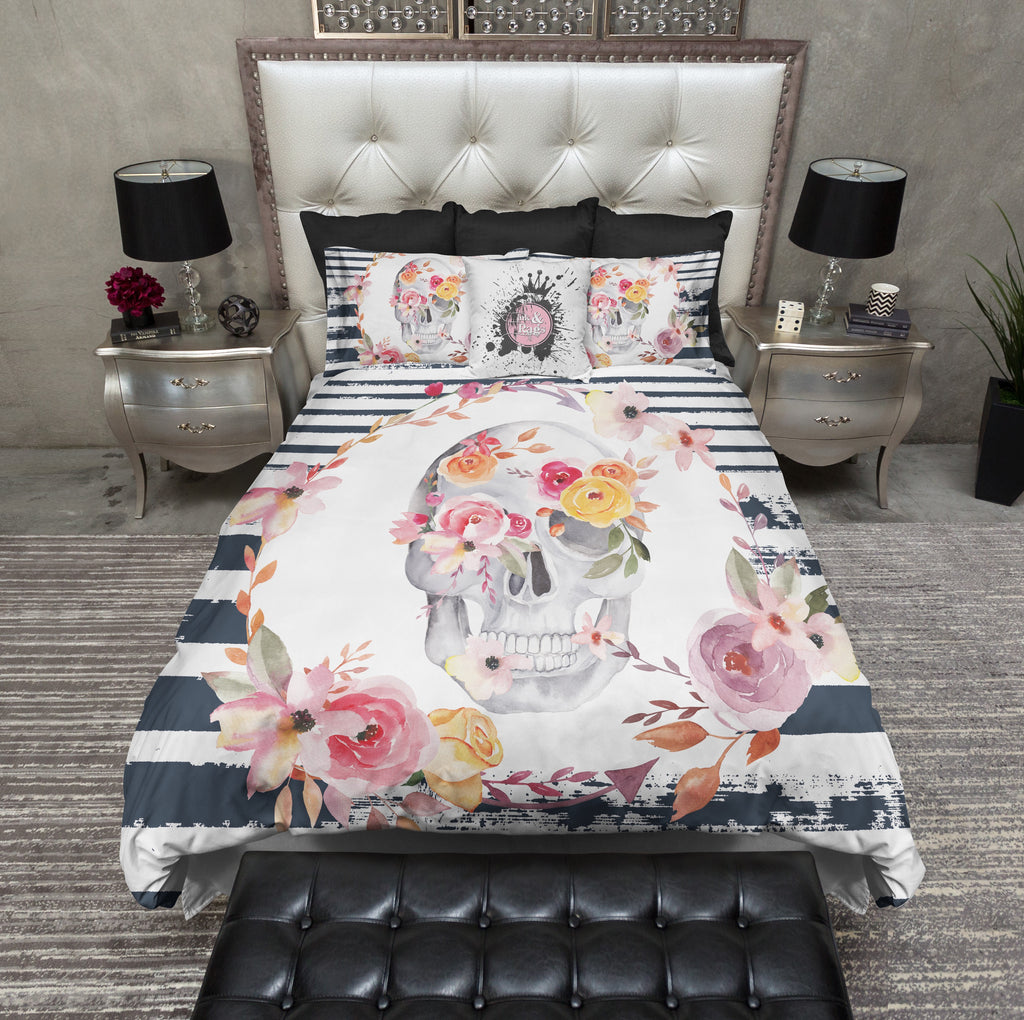 Spring Flower and Navy Stripe Skull Bedding Collection