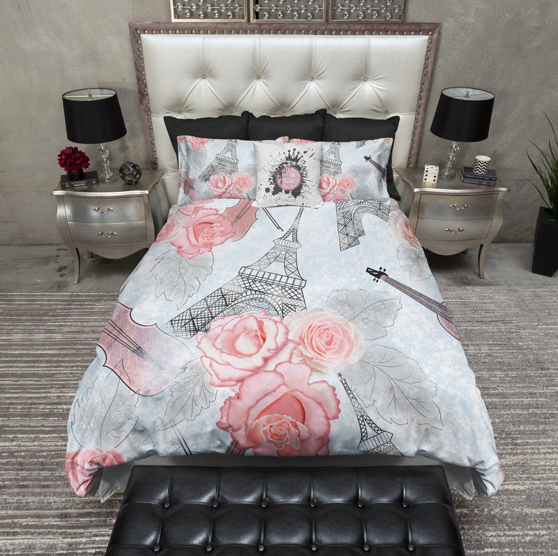 Music in Paris Rose Eiffel Tower Bedding