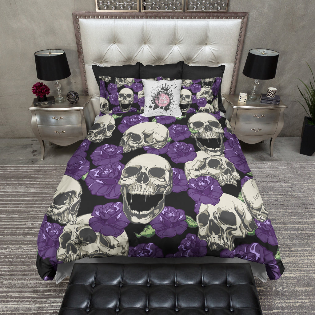 Purple Rose and Cream Skull Bedding Collection