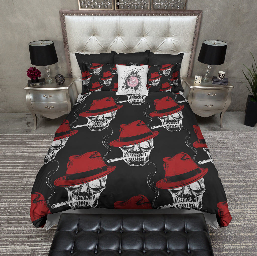 Smoking Gangster Red Fedora Skull Bedding Collection