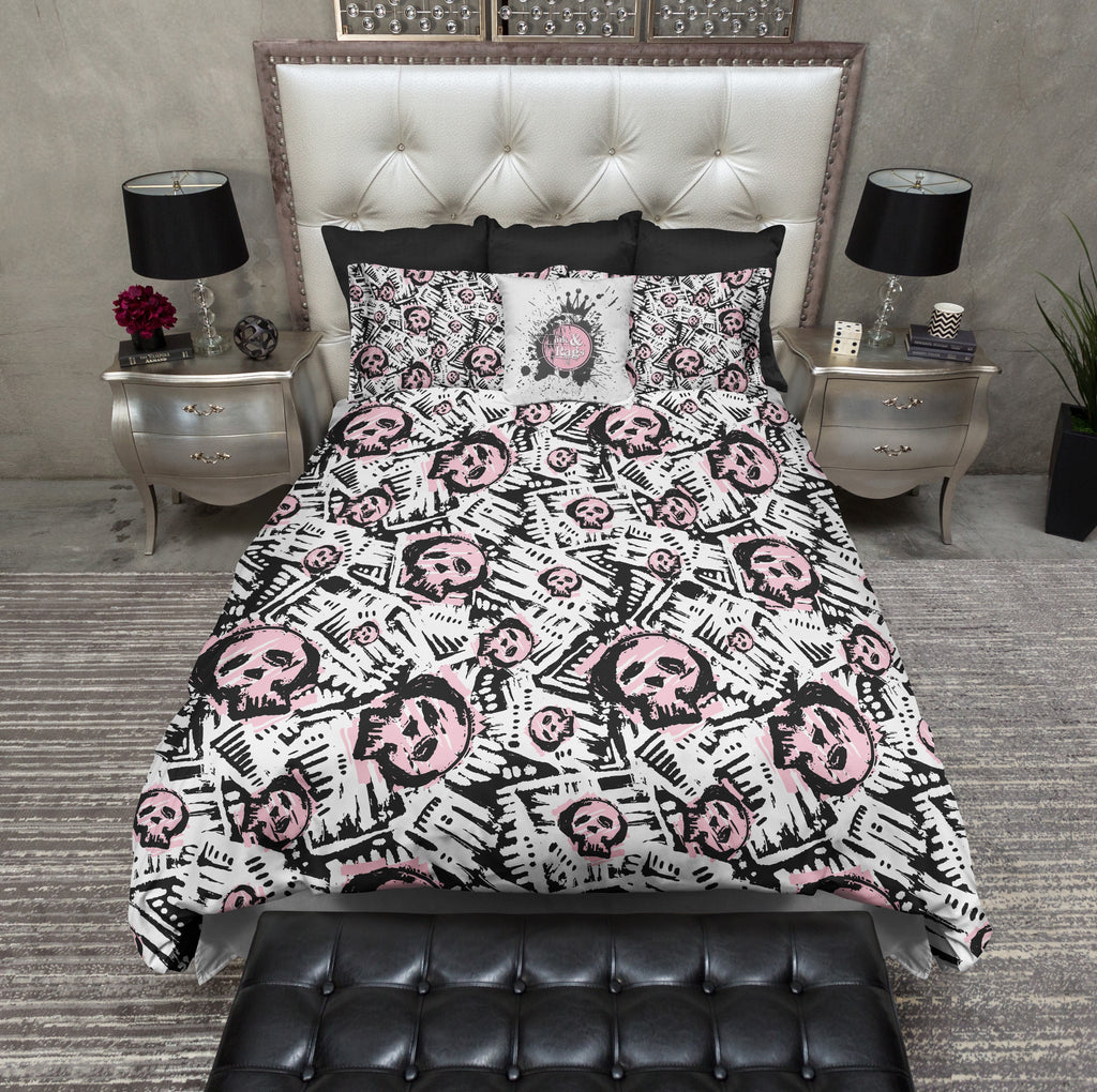 Abstract News Print Pink Skull Duvet Bedding Sets