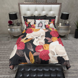 Red and Yellow Rose and Feather Skull Bedding