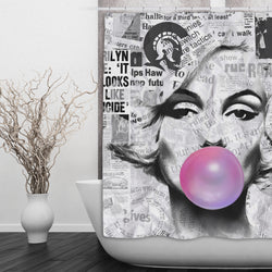Marilyn Monroe Bubble Gum News Print Shower Curtain