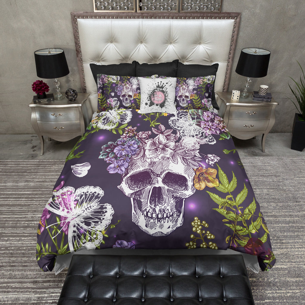 Wildflower Skull and Butterfly Bedding