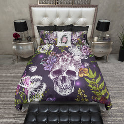 Wildflower Skull and Butterfly Duvet Bedding Sets