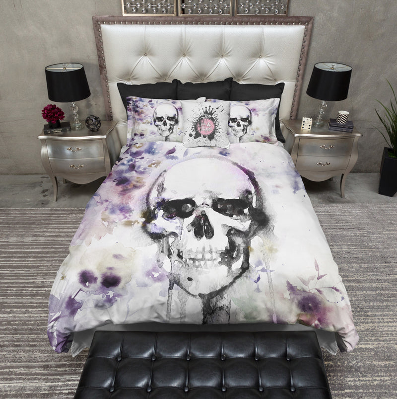 Lavender Fields Watercolor Skull Bedding
